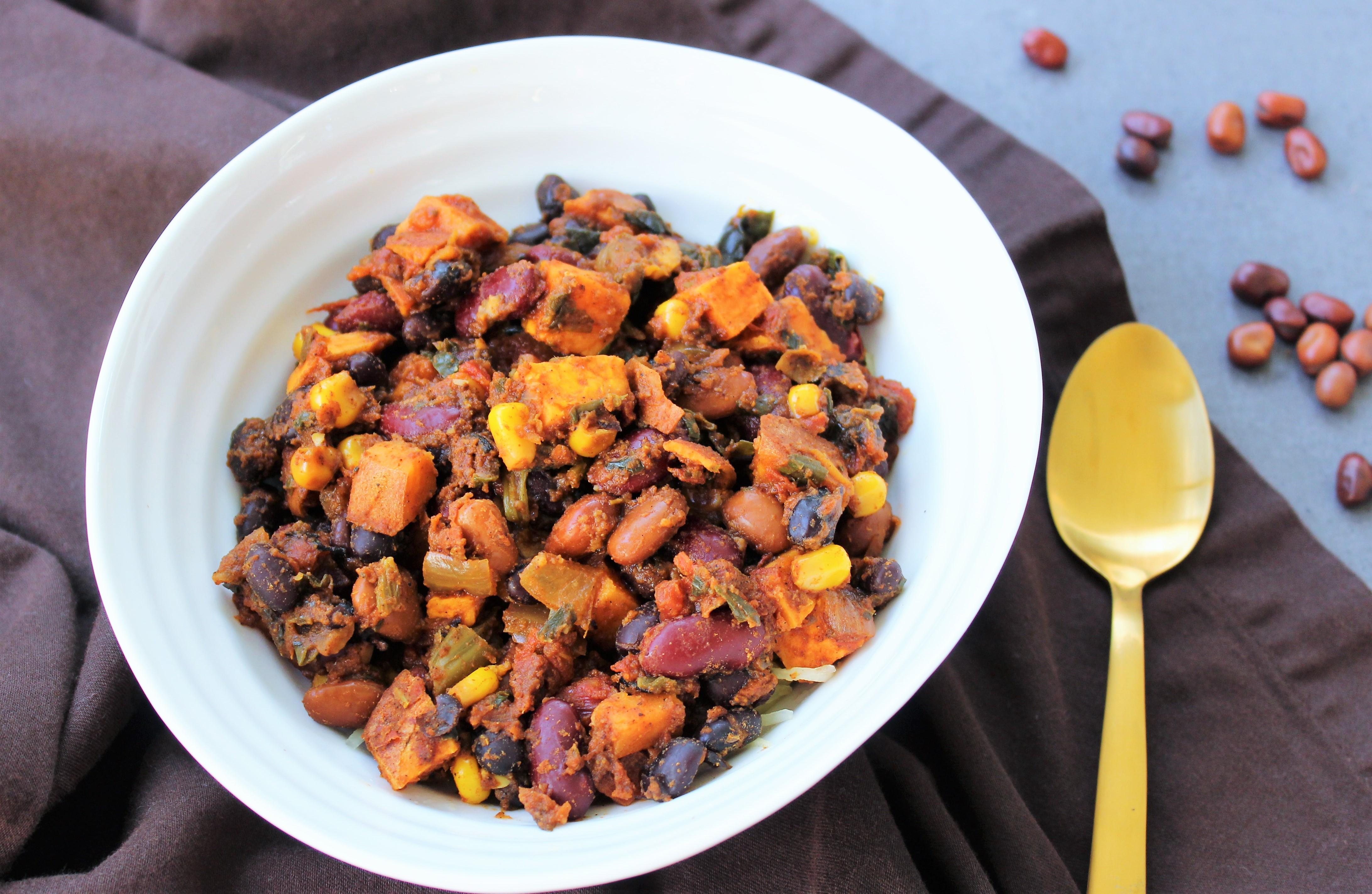 Spicy Sweet Potato 3 Bean Chili Kelly Jones Nutrition
