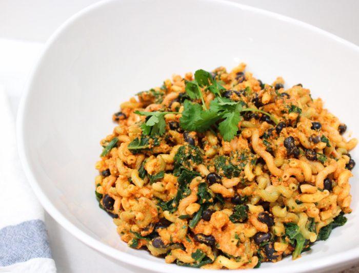 spicy plant-based black bean pasta salad