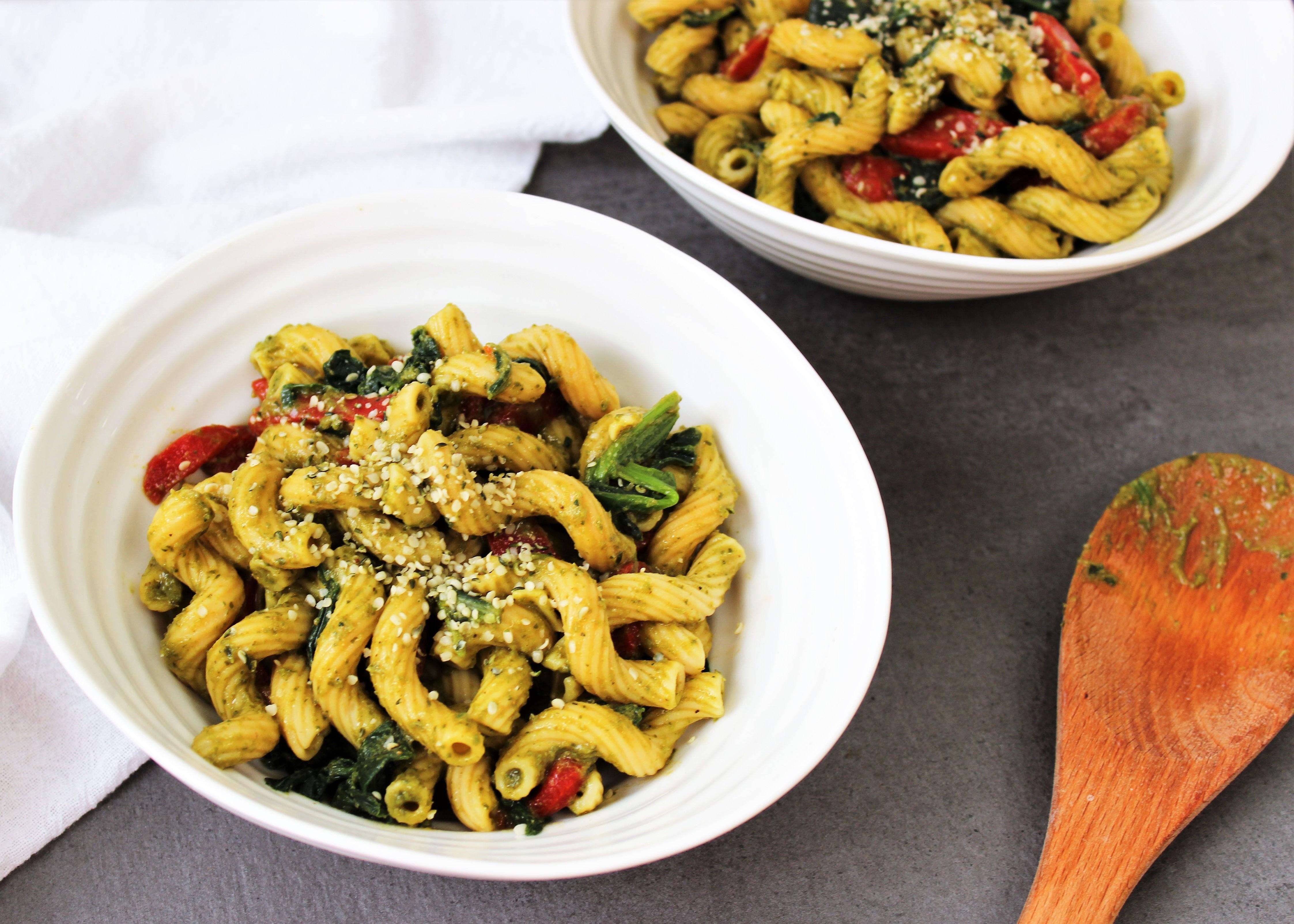 high protein pesto pasta