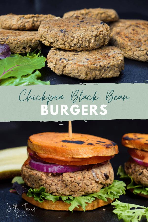 gluten free chickpea black bean burgers