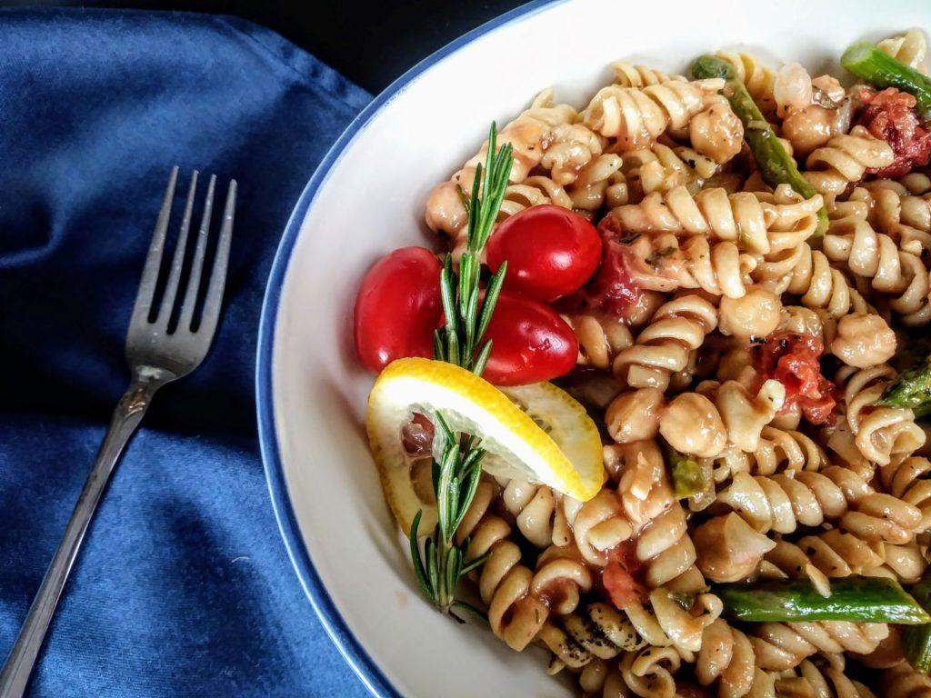 vegan chickpea asparagus pasta