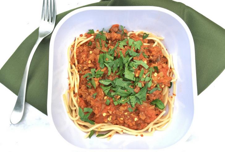 vegan meat sauce pasta